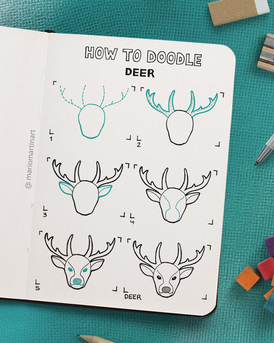 how to doodle a deer